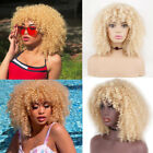 613 Blonde Afro Kinky Curly Synthetic Hair Wigs with Bangs Short Curly Hair Wigs