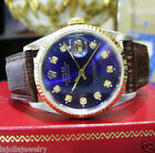 Mens Vintage ROLEX Oyster Perpetual Datejust Stainless Steel Gold DIAMOND Watch
