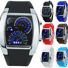 TH_ Mens RPM Turbo Blue Flash LED Sport Car Meter Dial Watch Wristwatch Gift Nov