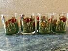 Culver Deep Red Iris Cinnabar Flower Rock Glasses 22k Gold Mid Century Lot of 4