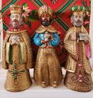 Vintage Jeweled Nativity Three Kings 11 Wisemen Figures Gold Magi Japan Sears