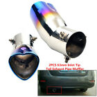 2x Car 63mm Inlet Heart shaped Baked Blue Tip Tail Exhaust Pipe Muffler Durable