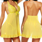 Yellow Women Sexy-Lingerie Lace Chemise Robes NightGowns Sleepwear G-String Set