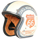 Half Face Street Vintage Motorcycle Helmet for Harley With Brim Route 66 DOT