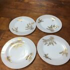 4 Federal White Milk Glass Golden Glory Gold  Bamboo 9