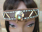 Native American Beaded Bone Leather Headband Copper Handcrafted Headdress