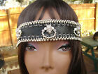 Native American Leather Headband w wolf Beaded Silver Handcrafted Tribal