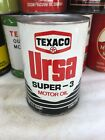 Vintage Quart Texaco Ursa Super-3 New York Full Oil Can Metal No Reserve!!