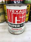 Vintage Quart Full Texaco Ursa Super 3 New York Metal Motor Oil Can No Reserve!