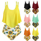 Women Print Two Pieces Bathing Sets Top Ruffled With High Waisted Loose Bikini