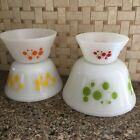 Set of 4 Vintage Federal Milk Glass Atomic Dots Bowls Red Orange Yellow Green