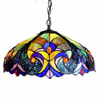 Tiffany Style Hanging Ceiling Lamp Fixture Blue Stained Glass Shade 18 Wide