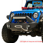 EAG Stubby Front Bumper Black with Winch Plate Fit for 07 18 Jeep Wrangler JK