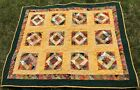 Handmade Quilt Fall Harvest Leaves Apples Pears Throw Blanket Wallhanging 53x43