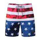 Mens Beach Vacation American Flag Water Resistant Swimwear Swim Trunks Shorts
