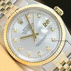 ROLEX MENS DATEJUST SILVER DIAMOND DIAL 18K YELLOW GOLD STAINLESS STEEL WATCH