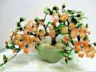 Vtg Agate Glass Jade Bonsai Tree With Apricot Flowers Buds Shades Of Green Jade