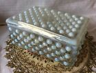 Anchor Hocking Hobnail Moonstone Opalescent Rectangular Cigarette Box with Lid