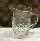 Vtg Early American Prescut EAPC clear glass Pitcher Anchor Hocking Star of David