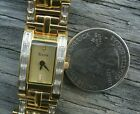 Bulova  GOLD RHINESTONE Square Ladies Watch SMALL WRIST CHEAP SHIP USA
