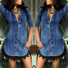 Women Summer Denim Pencil Dress Lace Edge High Low Tops Casual Jeans Shirt Dress