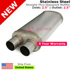 25 in Offset Inlet Double Outlets Stainless Steel Universal Muffler 256295