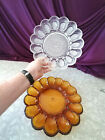 DEVIL EGG PLATTER DISH HOBNAIL1940'S IMPERIAL GLASS AMBER AND CLEAR