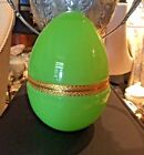 Large French Green Opaline Glass Box Caddy Egg Shape