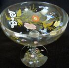 DOROTHY C THORPE BEAUTIFUL SIGNED LARGE CHAMPAGNE CANDY GLASS BOWL FLORAL DESIGN