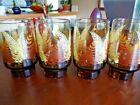 Vtg Retro Drinking Glasses Juice Stacking Tumblers Fall Gold Furn Leaves 10 oz.