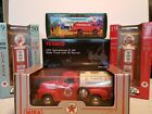 Texaco Die-cast Trucks, Gas Pumps, Coin Bank, and Ricky Rudd promo bag