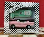 Vintage Hand Painted Ceramic Pink Cadillac and Gas Pump Salt  Shakers NEW