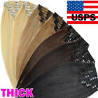 100% Best Double Weft Clip In Remy Human Hair Extensions Full Head Real THICK