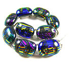 DICHROIC Glass Link Bracelet Multicolored Rainbow Striped Fused Dicro 5 x 75