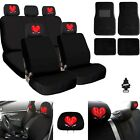 For Jeep New Heart Car Truck SUV Seat Covers Headrest Floor Mats Full Set
