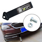 1X Black JDM AS Pattern Decal Tow Strap Racing Car Front Rear Bumper Towing Hook
