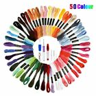 Embroidery Stitching Punch Needle Tool Set 4 Sizes + 50 Mix Colors Sewing Thread