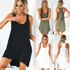 Women Lady Tank Top Mini Dress Plain Summer Casual Prom Party Loose Tunic Shirt
