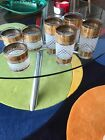 Vintage Mid-Century Modern Gold LEAF Drinking GLASSES Tumblers Frosted