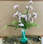 Floral Arrangement Murano Style Vase Artificial Pink and White Cherry Blossoms