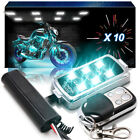 10pc Honda Motorcycle Remote Neon RGB LED Accent Underglow Kit Brake Light