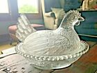 Vintage Clear Glass Chicken On Nest Candy Dish-2976