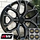 20 inch Chevy Avalanche Replica Snowflake Wheels Black Milled Rims 20 x9