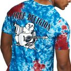 True Religion Mens Tie Dye Buddha Logo Tee T Shirt in Tie Dye Red Blue