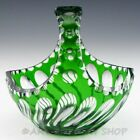 Vintage Bohemian Chech EMERALD GREEN CRYSTAL CUT TO CLEAR BASKET CANDY DISH BOWL