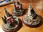 Lot of 3 Thomas Kinkade Small Lighthouse Light-Up Sculptures - Tested (140)