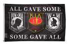 3x5 Pow Mia POWMIA KIA Wounded Warriors All Gave Some Some Gave All Flag