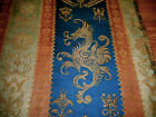 Antique French Heraldic Griffin Cotton Linen Jacquard Fabric Blue Sienna Sage