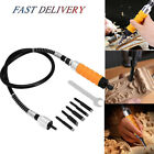 US Wood Chisel Carving Knives Wrench Flexible Shaft Hand Set for Electric Drill
