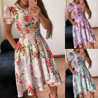 Women's Casual Floral Print Short Sleeve Slim-fit Waist Pleated A-line Dress